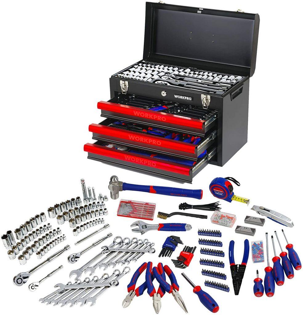 WORKPRO W009044A Boîte à Outils Complete pour Mécanique Avec Boîte Métallique Lourde Résistante à 3 Tiroirs 408 Pièces Caisse à Outils